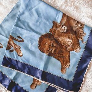 Vintage blue lion satin scarf